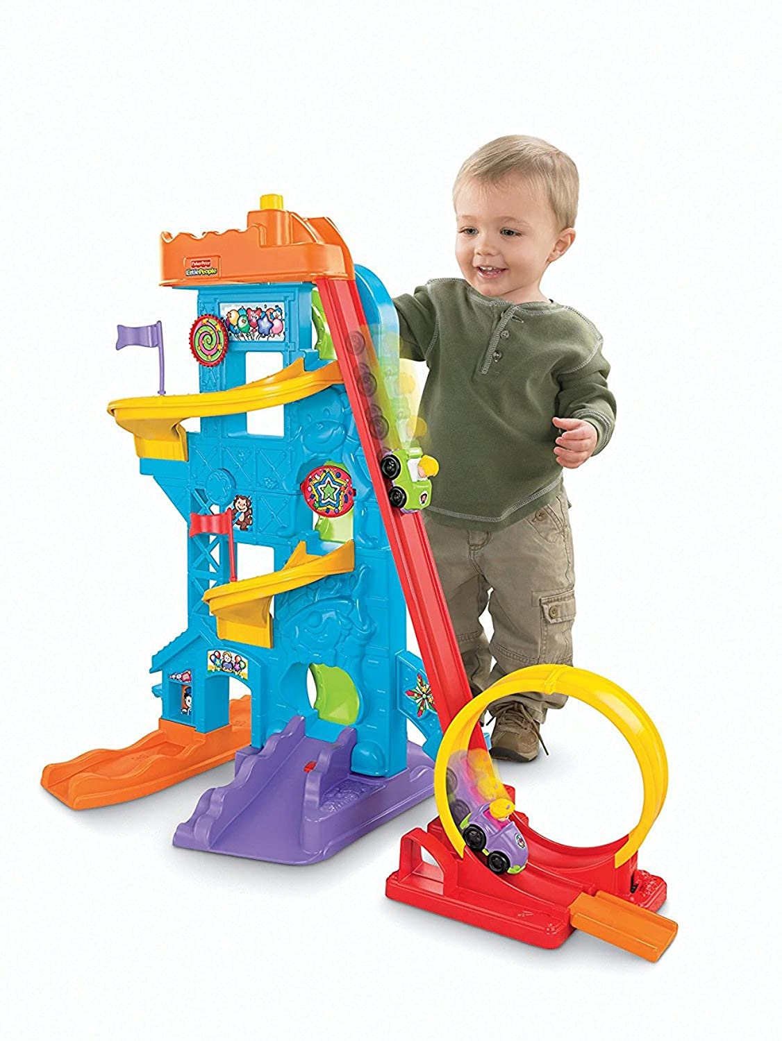 Though Two Year Olds Arent The Ideal Candidates For Roller Coaster Rides Or Theme Parks This Loops N Swoops Amusement Park Playset By Fisher Price Is