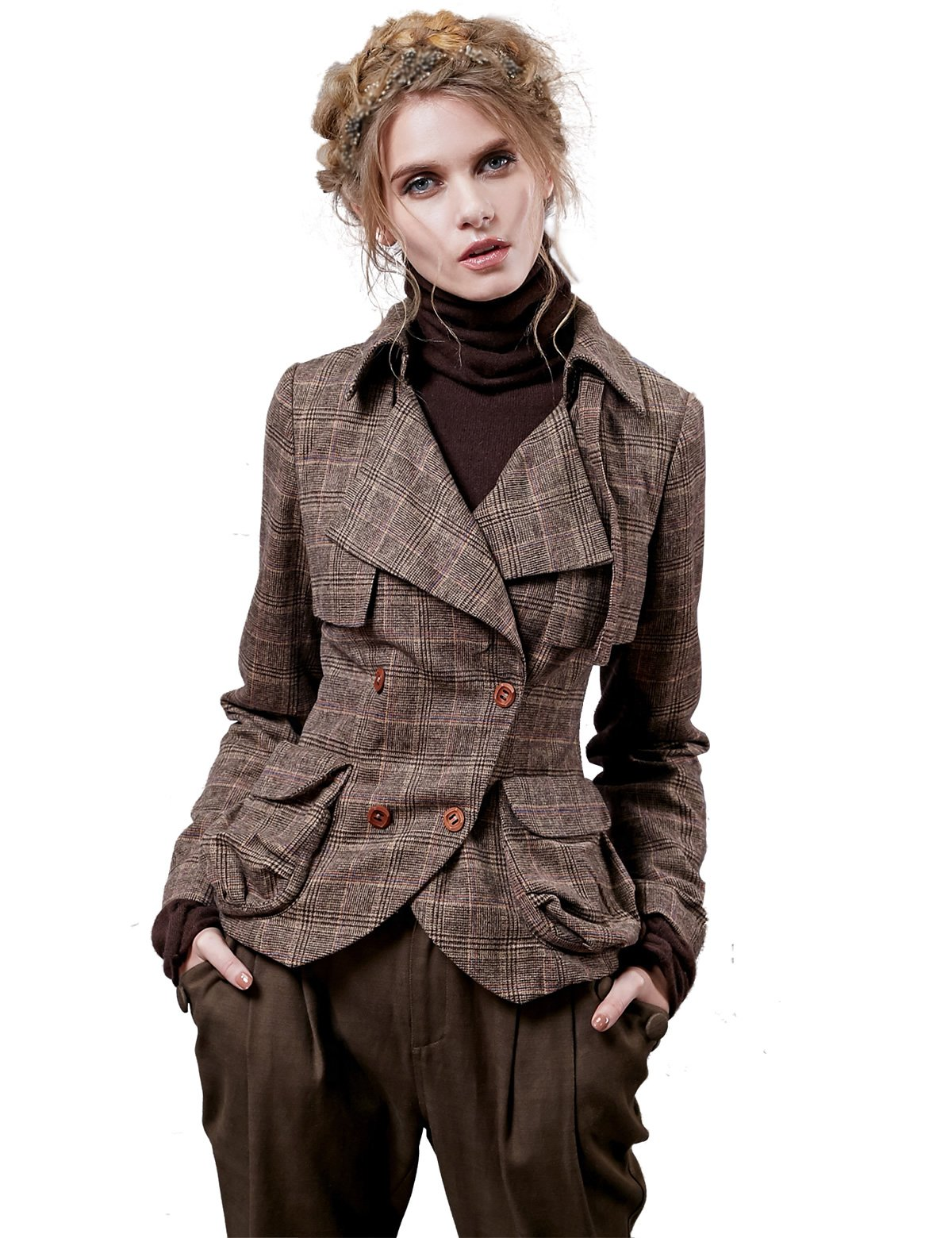 Artka Women's Plaid Knight Style Fitted Double Breasted Jacket Style Blazer Brown