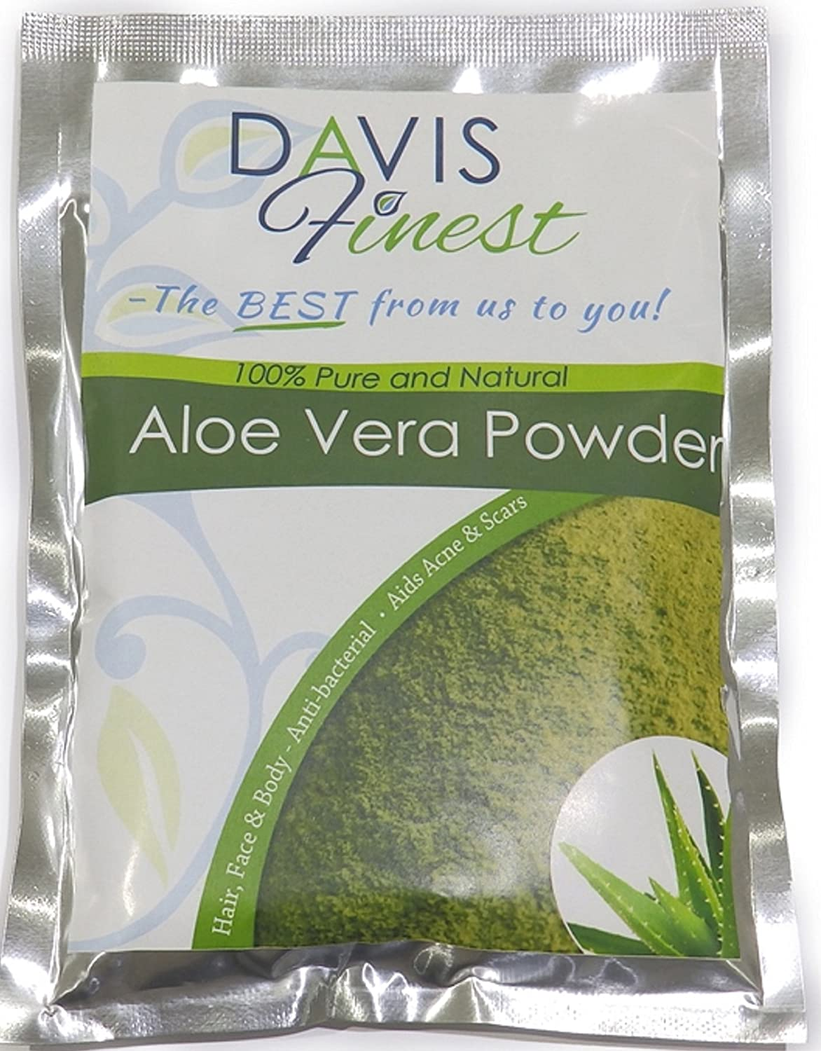 Aloe Vera Powder for Hair Face and Skin - Natural Skin and Hair Care Treatment for Dry Chapped Itchy Damaged Problem Skin and Scalp - Rejuvenating Facial Mask 100g