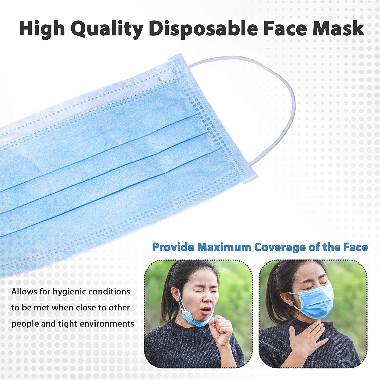 Disposable Face No Breathing Valve FDA certific Thick 3Ply 100 Pieces dust Protection