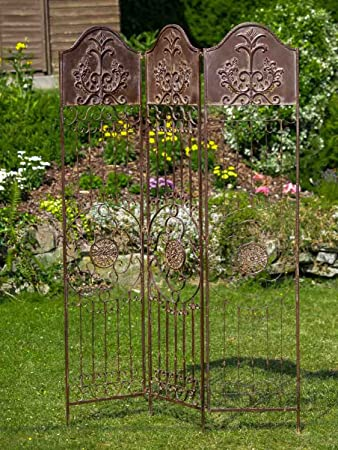 Great Decorative Screen   Antique Style Trellis   Wrought Iron   Brown   19kg