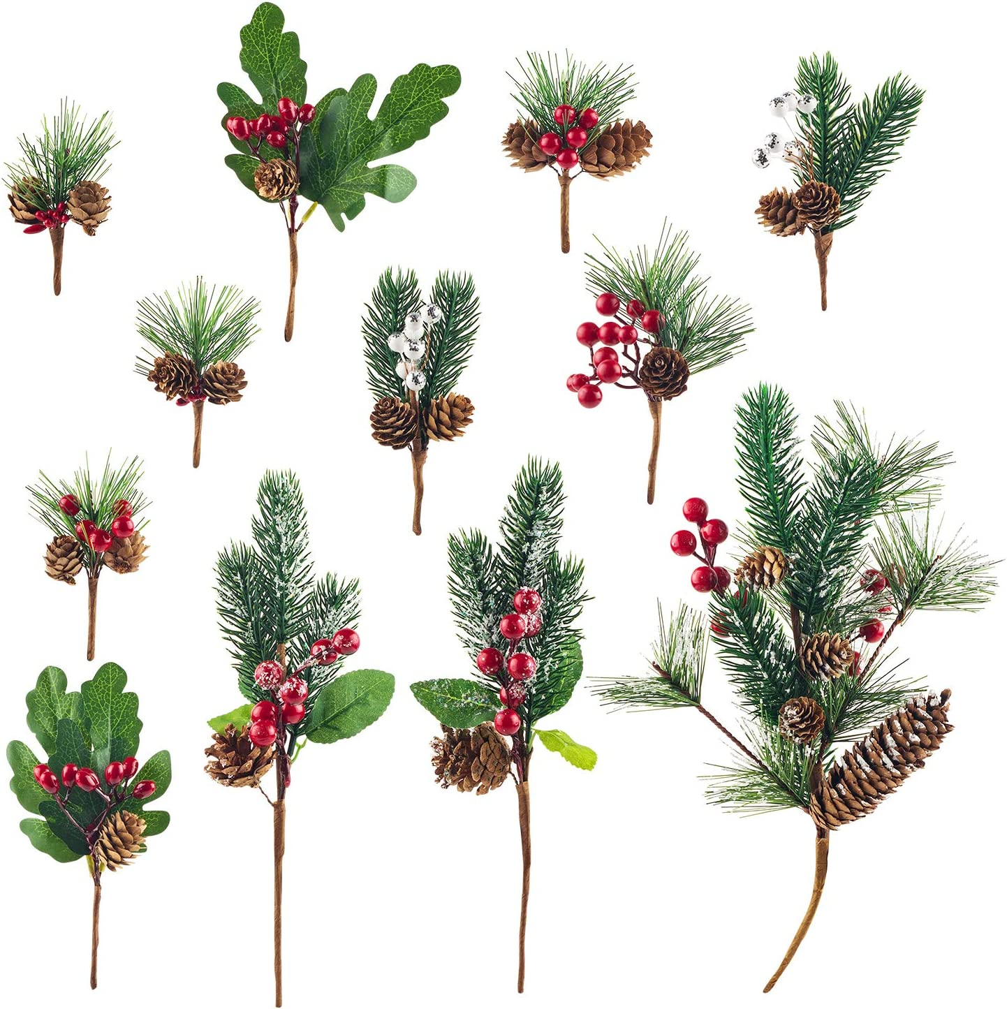 12Pack Artificial Christmas Picks Assorted Red Berry Picks Stems Faux Pine Picks Spray with Pinecones Apples Holly Leaves for Christmas Floral Arrangement Wreath Winter Holiday Season Décor