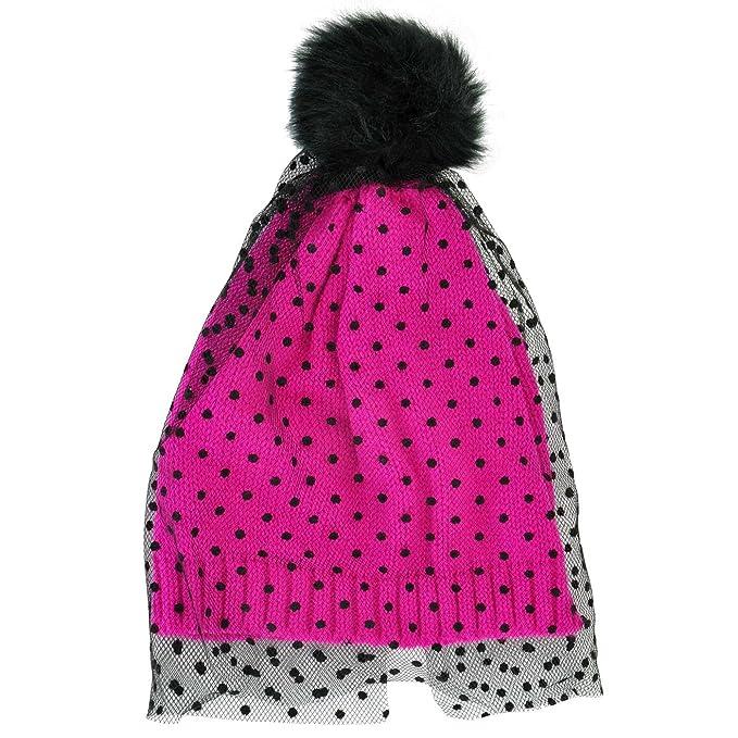 Amazon.com  Neon Eaters Girls Veil Beanie Hat - Pink - Winter Womens ... 0f9725e913d