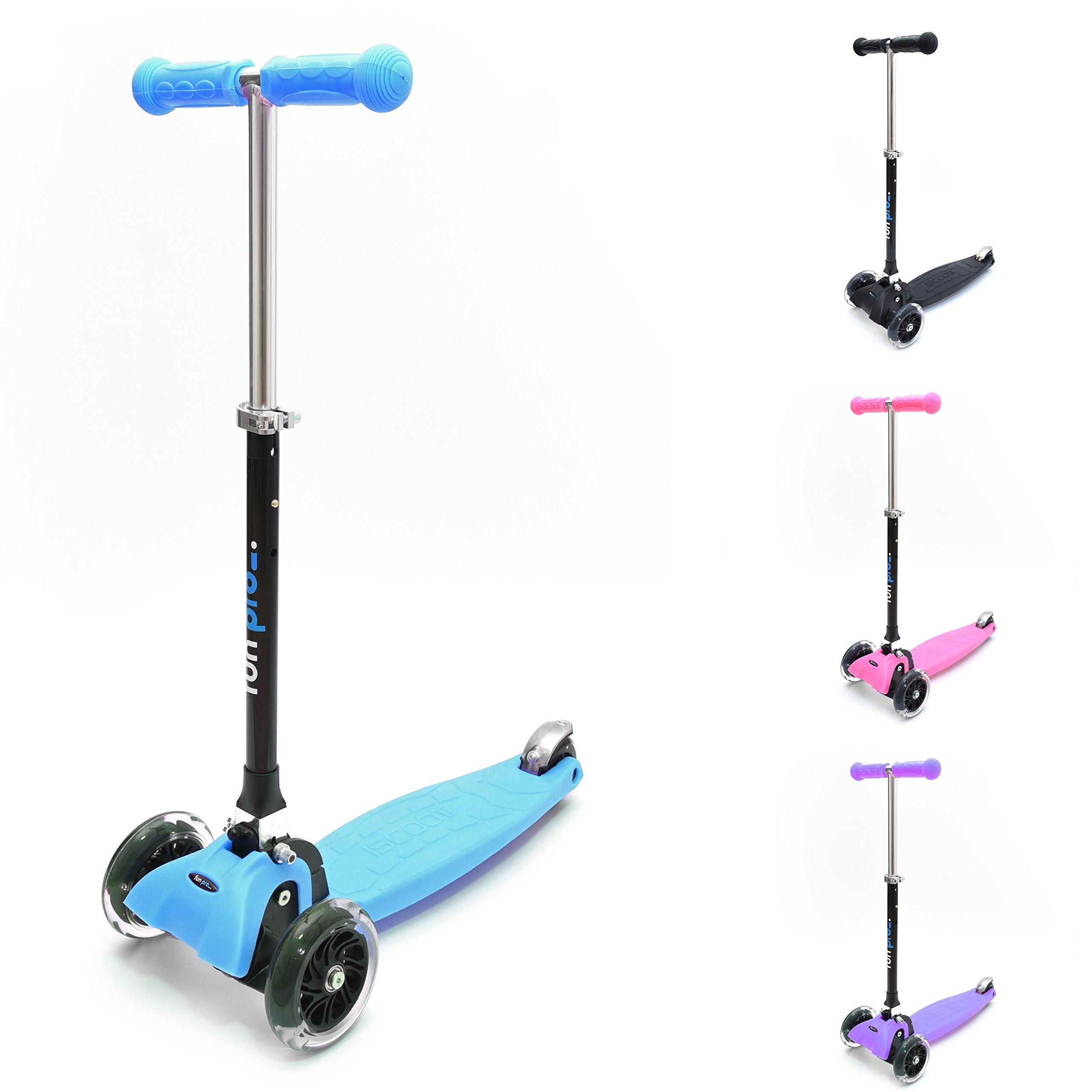 fun pro ONE Kids Scooter (kickboard) 2, 3, 4, 5, 6 Years, LED Light up Wheels, Foldable