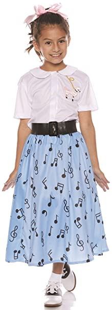 Kids 1950s Clothing & Costumes: Girls, Boys, Toddlers Underwraps 50S Girls Costume Skirt Set $40.22 AT vintagedancer.com