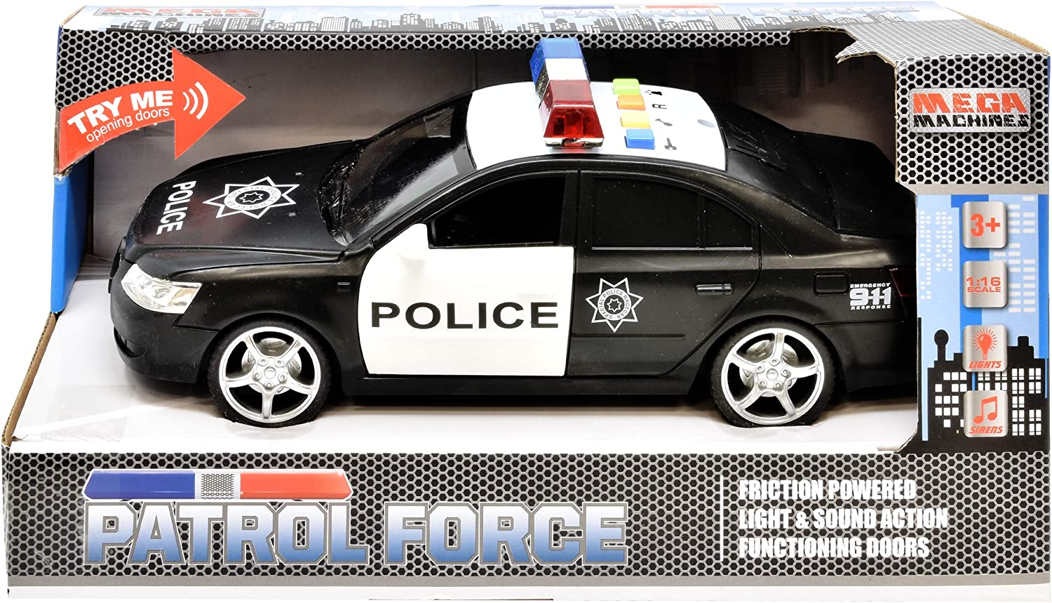 Number 1 in Gadgets Police Car Toy Friction Powered Rescue Vehicle with Lights and Siren Sounds for Boys Toddlers and Kids Push and Go Pull Back Diecast Emergency Transport Vehicle Car