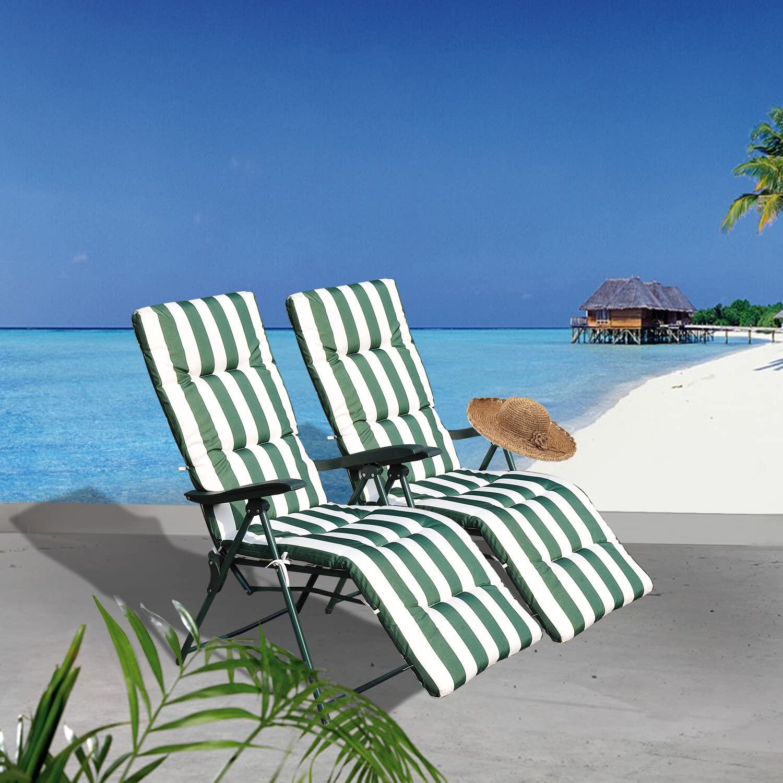 Outsunnny - Pack 2 x tumbonas Acero Plegable inclinable Acolchado Playa baño Camping: Amazon.es: Hogar