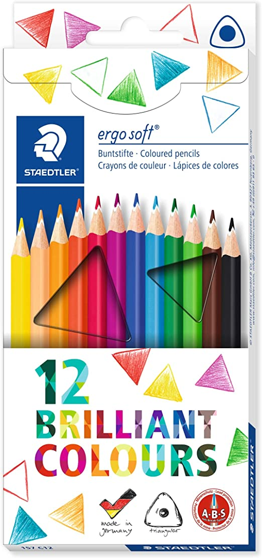 Staedtler Ergosoft 157 C12. Lápices de color triangulares. Caja con 12 unidades de colores variados: Amazon.es: Oficina y papelería
