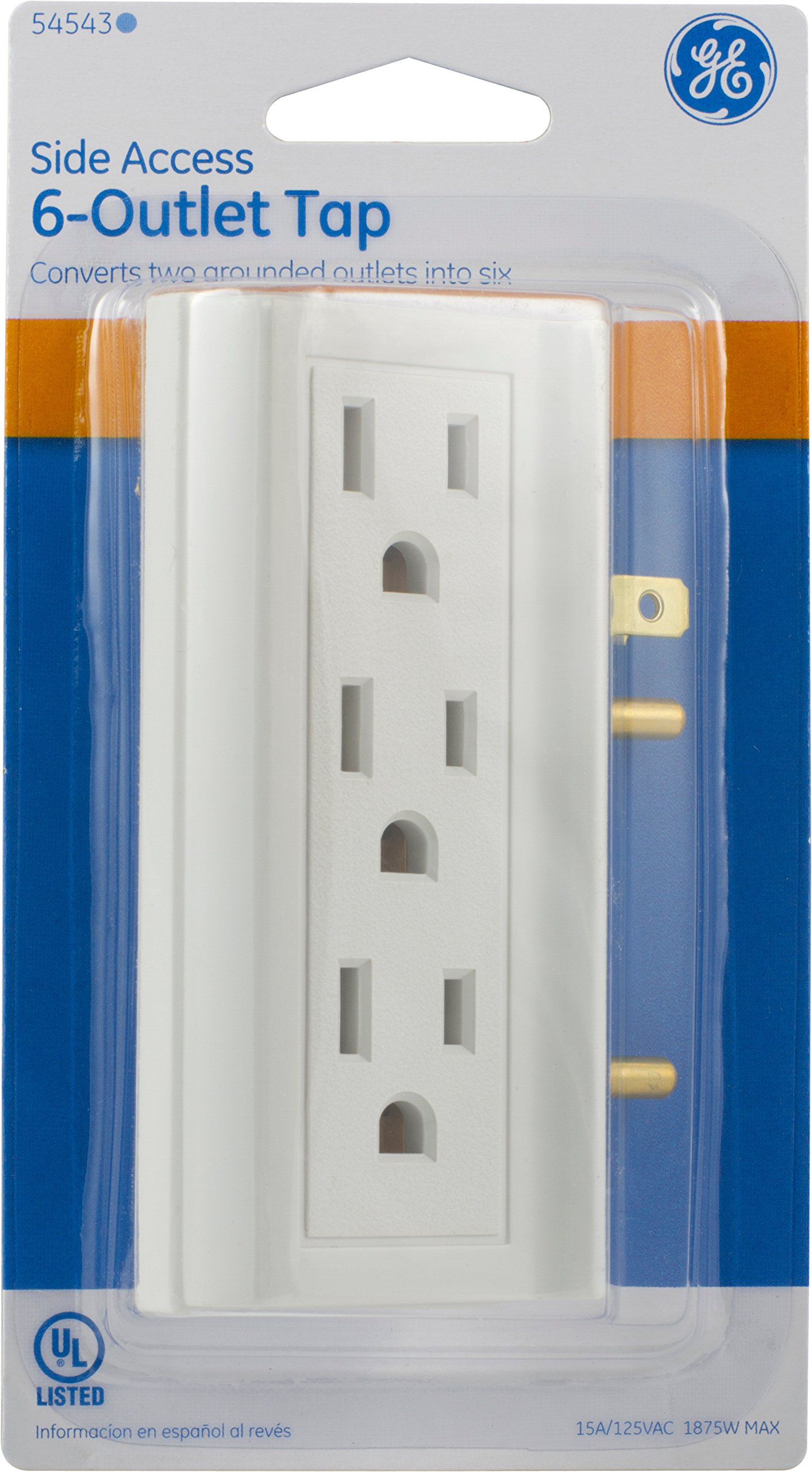 Ge Access Adapter Wall Tap Turn 2 6 3 Prong Outlets On Both Sides Vs Indoor Rated Ul Listed White 54543 Multi Tools Home