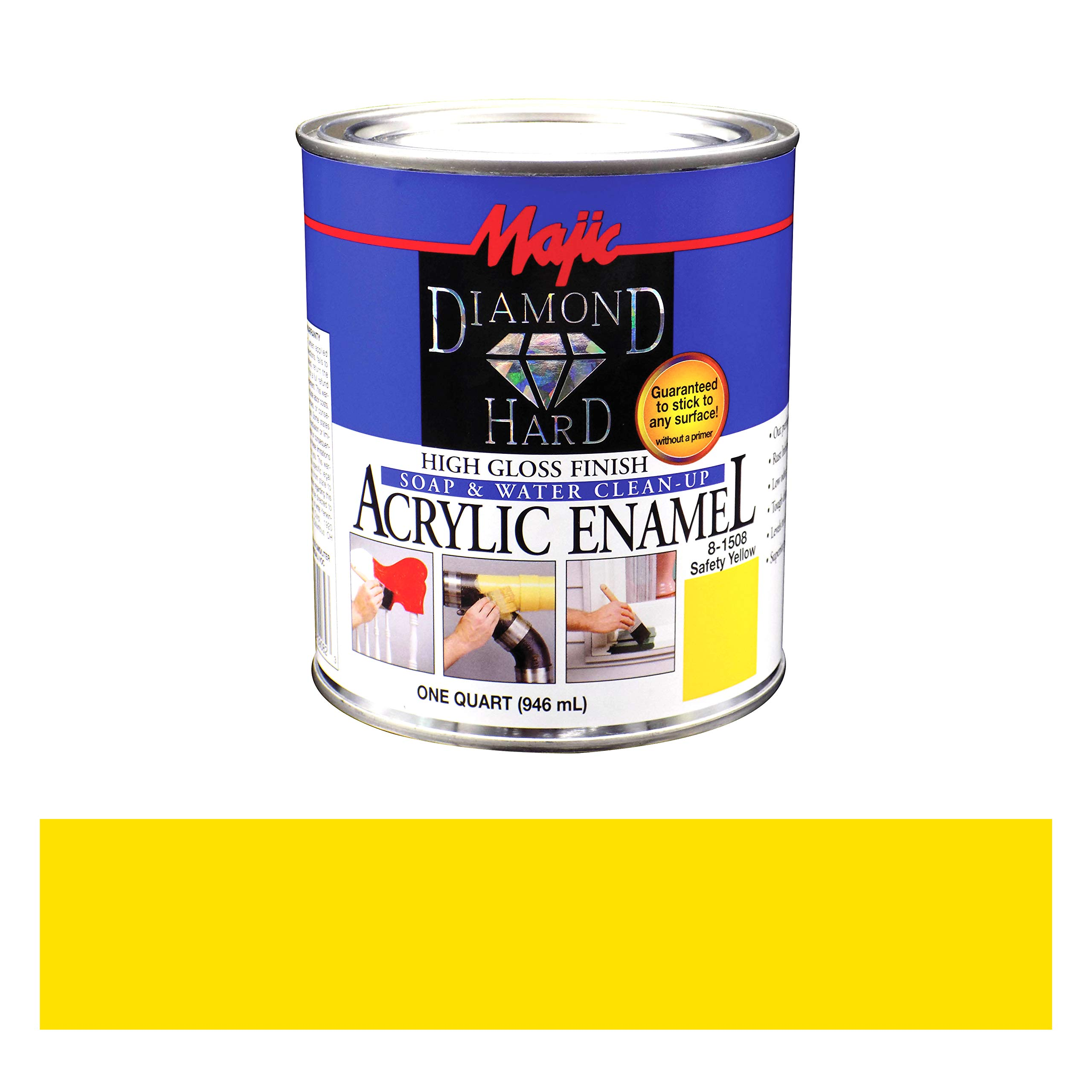 Majic Paints 8-1508-2 Diamond Hard Acrylic Enamel High Gloss Paint, 1- Quart, Safety Yellow