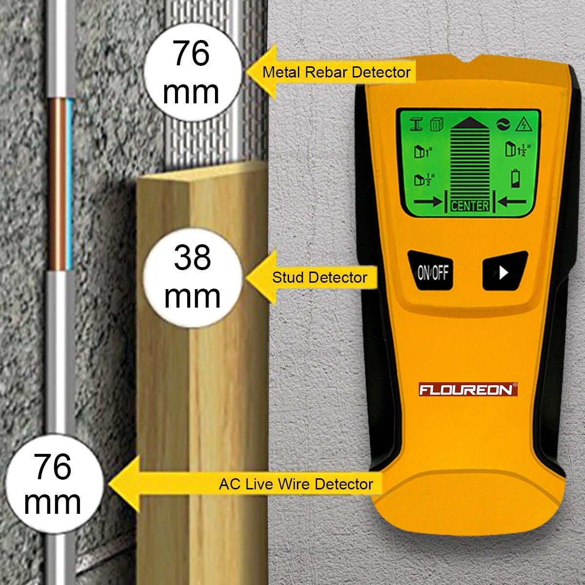 FLOUREON detector de construcción 3 en 1 de metal/inalámbrico de fase y Stud Sensor de materiales 3 modos pantalla LCD: Amazon.es: Bricolaje y herramientas