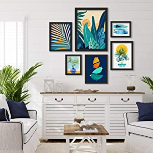 Americanflat Framed Gallery Wall Art Set - 6 Piece Contemporary Blue & Orange Abstract Botanical Landscape Black Framed Art