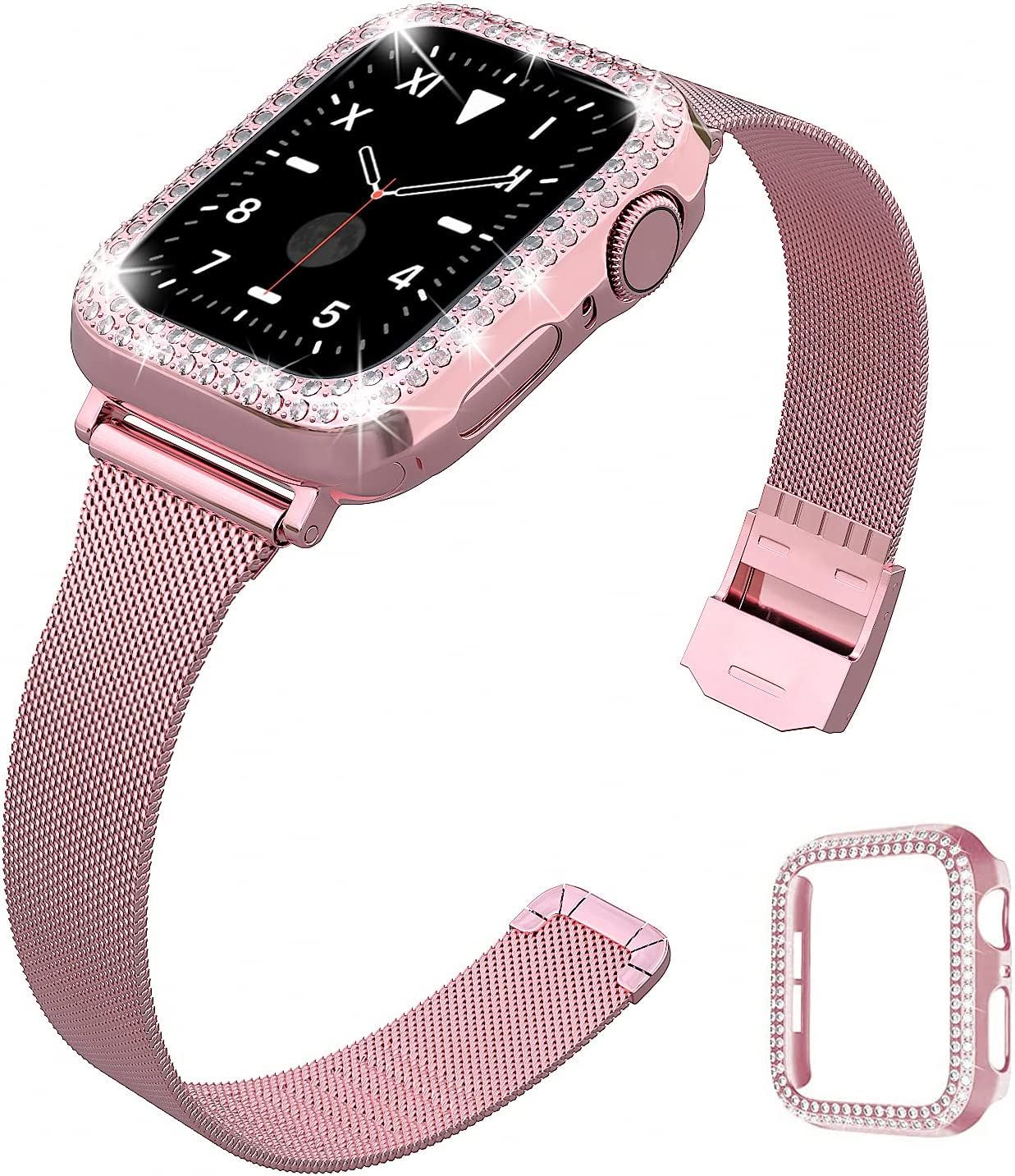 QVLANG Compatible for Apple Watch 38mm Band Series 3/2/1, Slim Stainless Steel Loop Mesh Strap with Women Bling Diamond Case for Apple Watch Series 3/2/1 (Rose Pink, 38mm)