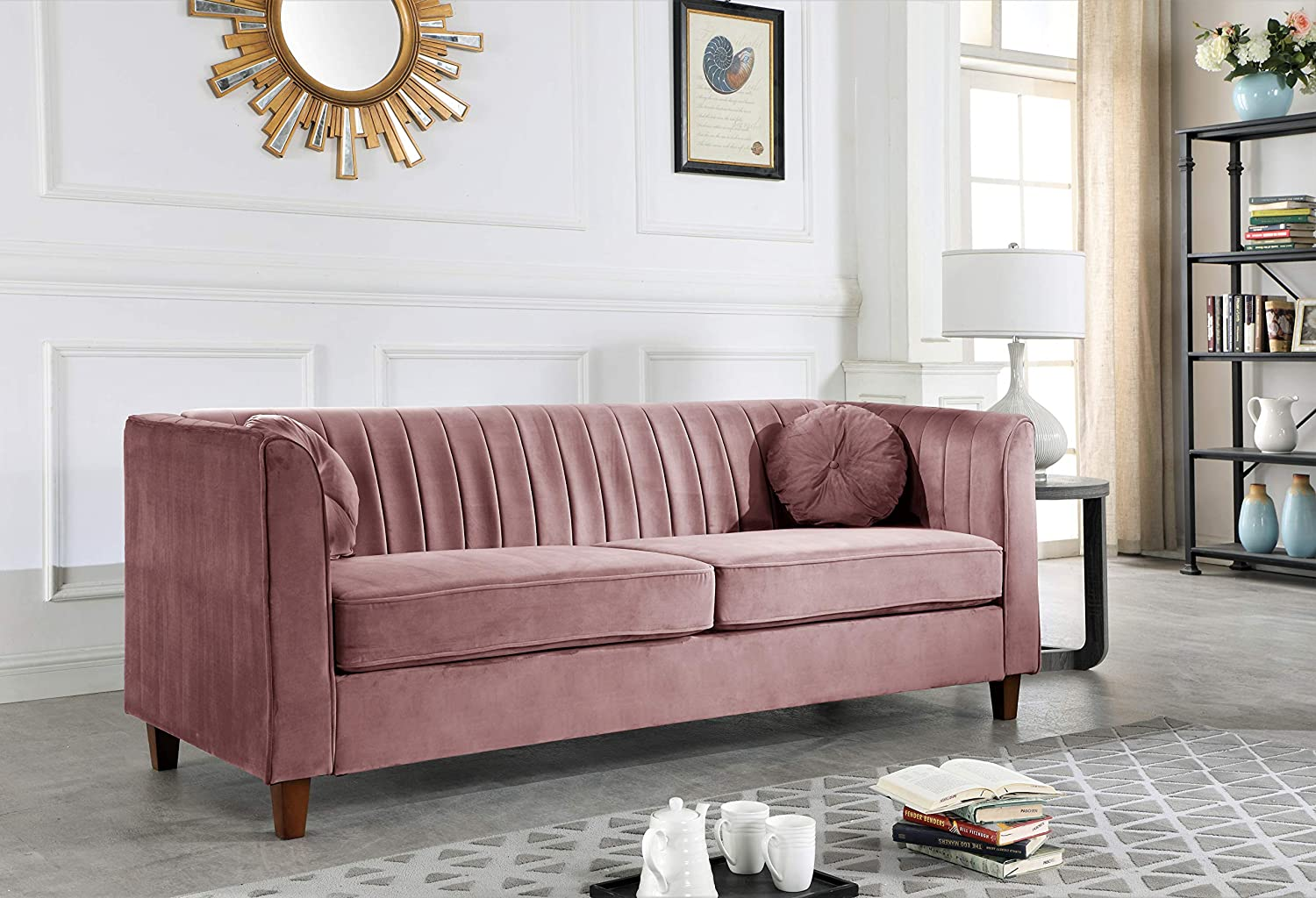 Container Furniture Direct Arvilla Upholstered Chesterfield Sofa, Rose