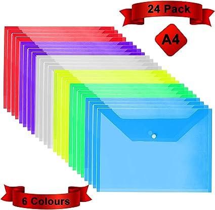 Carpetas Plastico (Pack de 24) - A4, 6 Colores Surtidos, Carpetas Transparentes para Documentos, Certificados, Recibos y Comprobantes: Amazon.es: Oficina y papelería