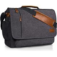 Estarer 17 inch Laptop Messenger Bag Mens Canvas Shoulder Bag Large Briefcase for Work