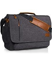 Estarer 17.3 Inch Laptop Messenger Bag Water-Resistance Canvas Computer Bag for Office Work College Upgraded Version