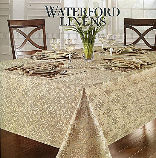 Christmas Tablescape Decor - Elegant Waterford Cristina damask style embossing with silver and gold oblong rectangular tablecloth