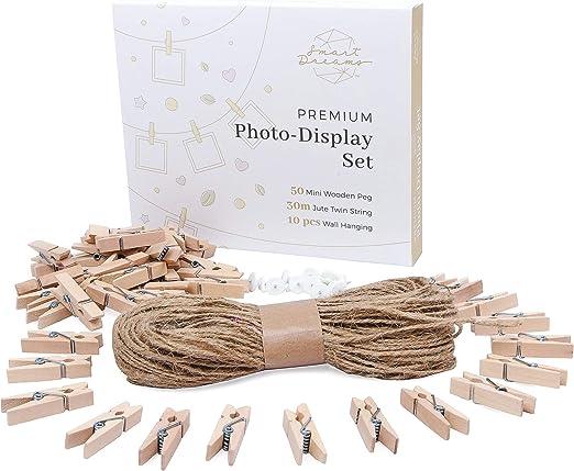 Smart Dreams cuerda de yute y mini pinzas de madera | bricolaje ...