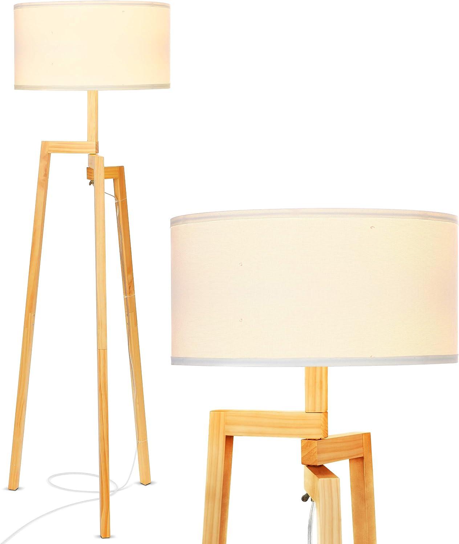 Led Tripod Floor lamp Wood mid Century Modern Reading lamp Rustic Standing Lamp