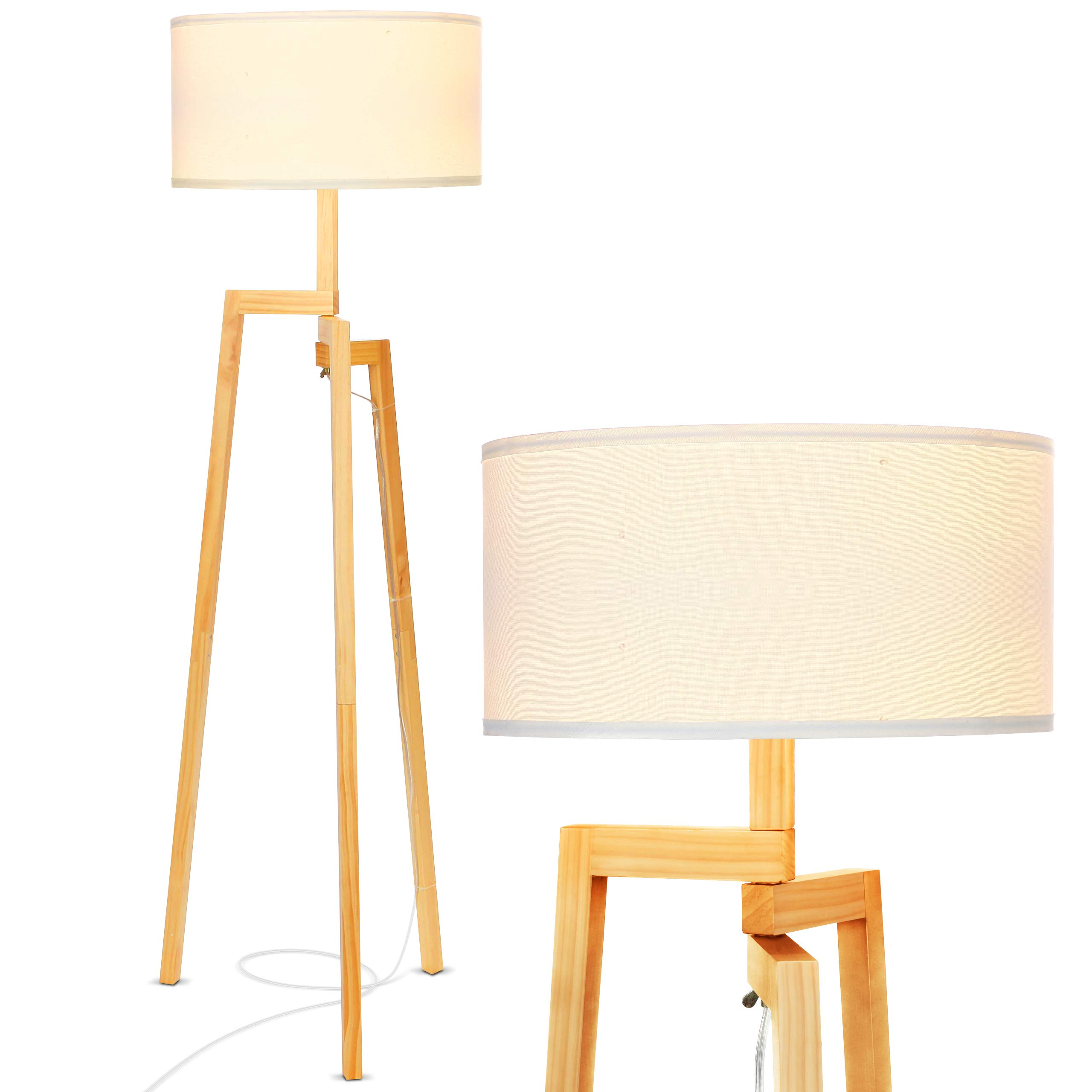 Brightech New Mia LED Tripod Floor Lamp- Modern Design Wood Mid Century Modern Light for Contemporary Living Rooms- Rustic, Tall Standing Lamp for Bedroom, Office- White Shade by Brightech