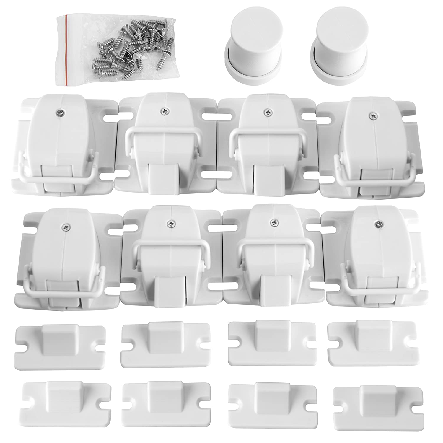 Ultimate Childproof Magnetic Cabinet Locks By BabySafetySupply – Easy No Tool Installation, Invisible Drawer Locks, Super-Strong Adhesive, Essential Toddler & Infant Protection, 8 Locks + 2 Keys Set