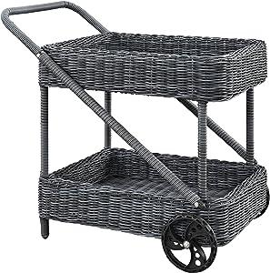 Modway Summon Wicker Rattan Outdoor Patio Beverage Bar Cart in Gray