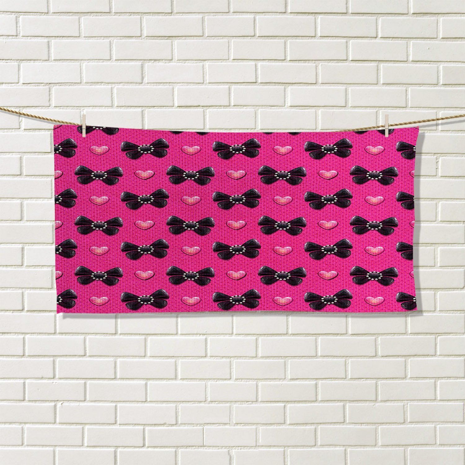 Pearls floral hand towels Bow Ties with Hearts Feminine Love Valentines Day Romantic Theme Dotted BackgroundCustom towel Pink Black by familytaste (Image #1)