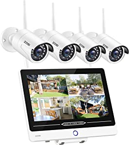 ZOSI SD12 All in one Wireless Security Camera System with 12.5 inch LCD Monitor,H.265+ 8CH 1080P NVR,4pcs 2MP Outdoor WiFi Surveillance Cameras,80FT Night Vision,Motion Detection,1TB Hard Drive