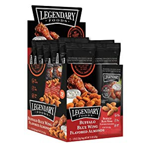 Legendary Foods Buffalo Blue Wing Flavored Almonds | Keto Friendly Low-Carb Snacks | High Protein, Fat, Potassium & More | Ideal Gluten Free Snacks for Post-Workout or Keto Diet (1.25oz, Pack of 12)