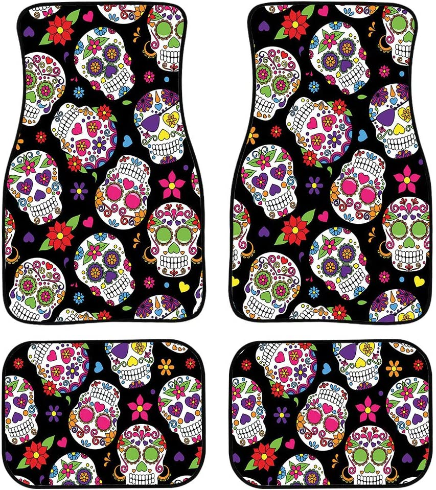 Buybai Skull Floor Mats for Car 4 PCS Soft and Easy to Put on The Seats Black