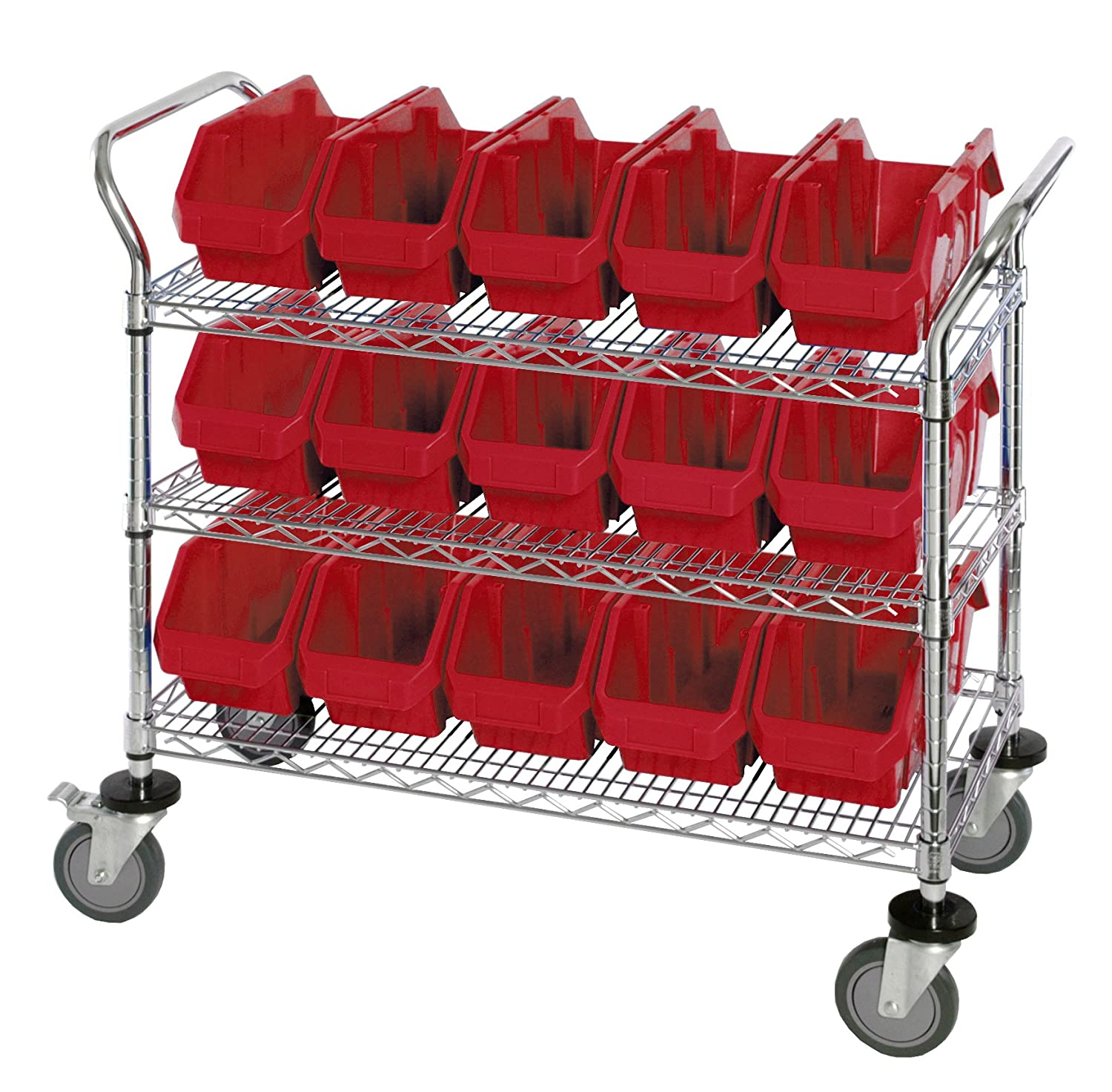 """B003UZRBSG Quantum Storage Systems WRC3-1836-1867RD 3-Tier Complete Wire Mobile Cart System with 15 QP1867 Red QuickPick Bins, Chrome Finish, 37-1/2"""" Height x 36"""" Width x 18"""" Depth 81DSn8N6QXL._SL1500_"""