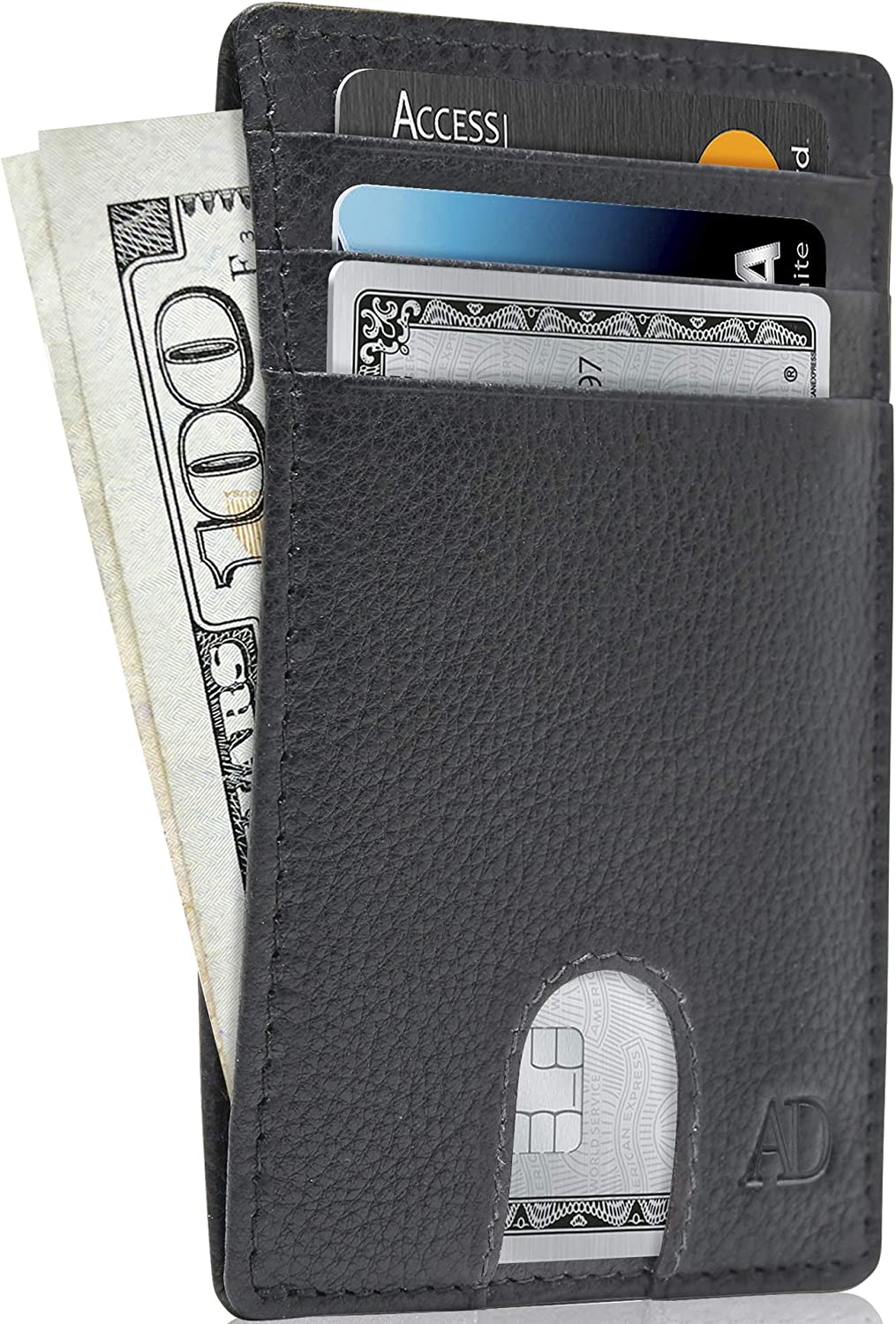 Genuine Soft Leather Slim BLUE Wallet 8 Credit Card Holder Note Compartment