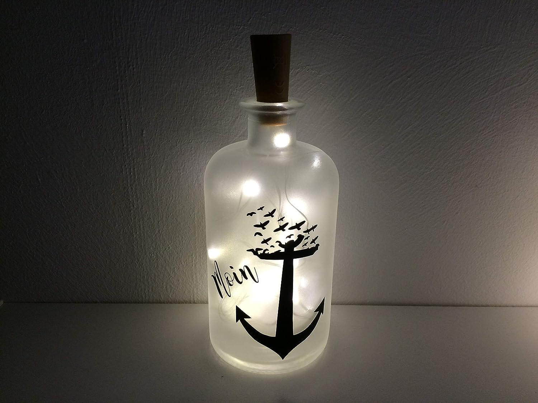 Flaschenlicht individuell LED Lichterkette Anker Moin Moin Meer