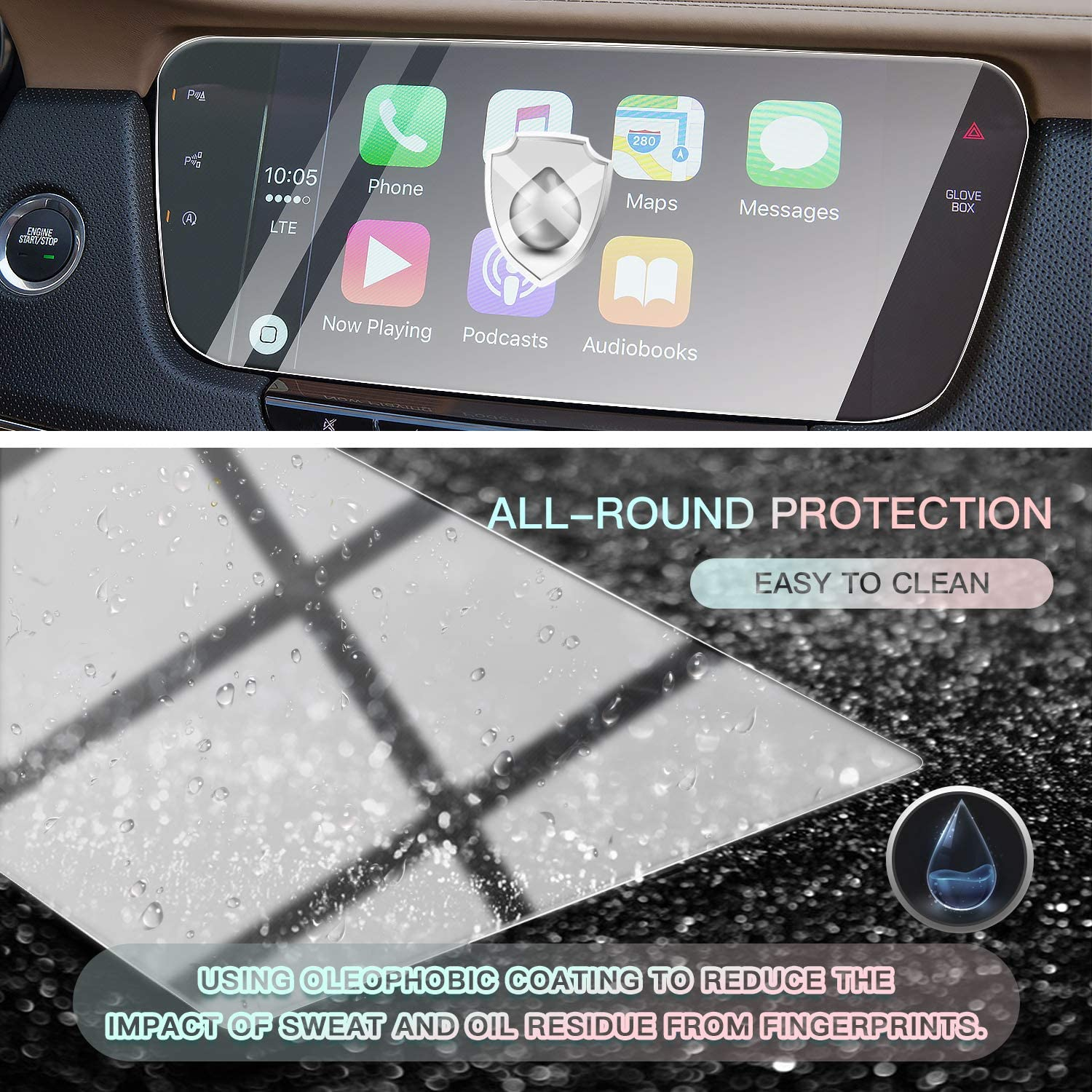 CDEFG Center Control Navigation Touch Screen Protector Infotainment Display Protector for 2017 2018 2019 Cadillac CT6 Tempered Glass HD Scratch Resistance