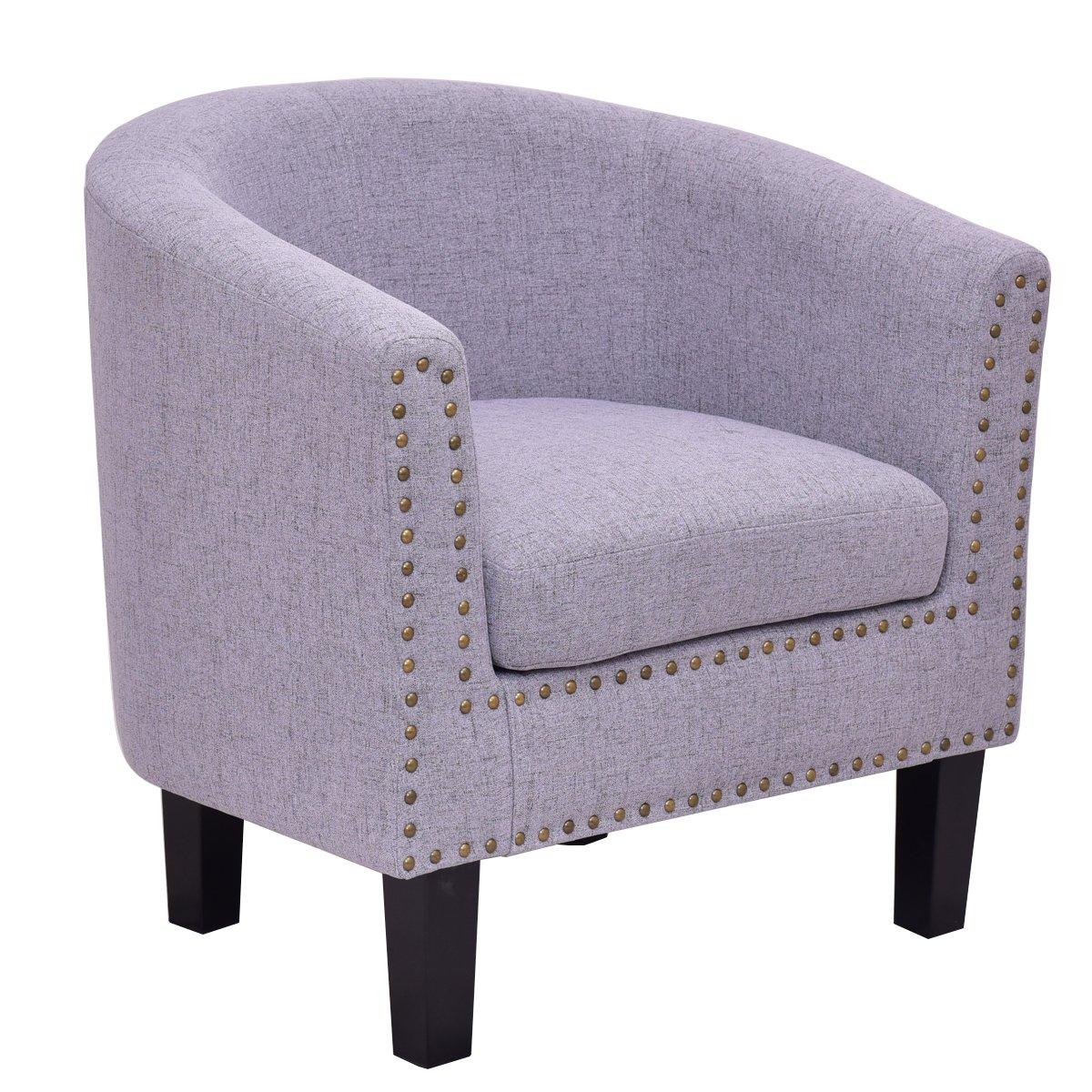 Giantex Modern Tub Barrel Club Seat Arm chair Accent Fabric Nailhead w/Cushion (Gray)