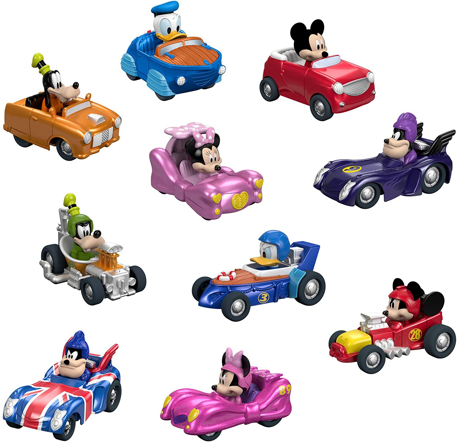 Fisher Price Disney Mickey the Roadster Racers Hot Rod Vehicles 10 Pack