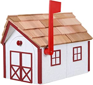 Amish Cedar Roof Wooden Mailbox with Window & Door Trim (White with Red Trim)