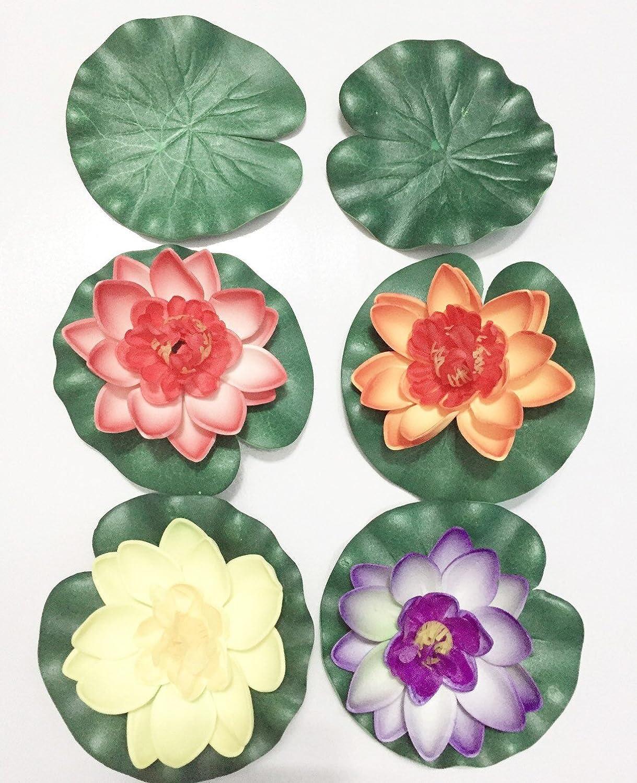 Amazon Happyi Artificial Floating Foam Lotus Flower Pond Decor