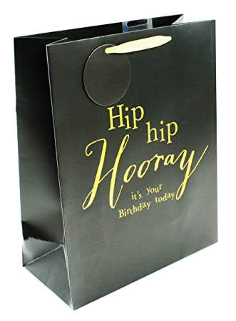 Large Gift Bag Mens Black Gold Foil Birthday For Him Luxury Present Wrapping