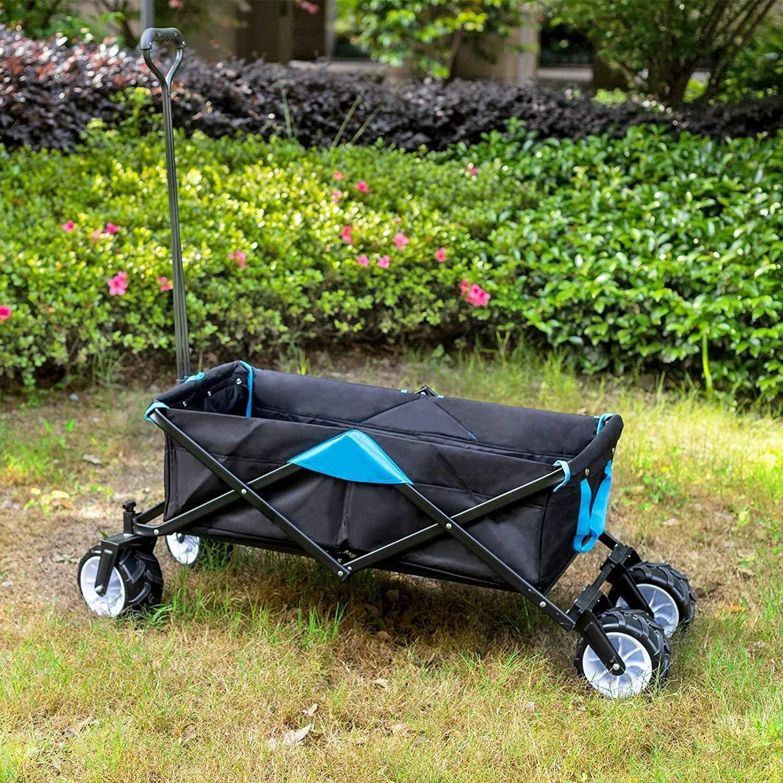NJYT del Carro de jardín con 4 Ruedas Plegable for Trabajo Pesado de tracción del Carro carros de Mano Carro Plegable jardín Transporte Carrito Plegable portátil Playa Campamento de la Compra: Amazon.es: