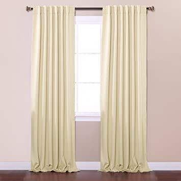 best home fashion thermal insulated blackout curtains back tab rod pocket beige