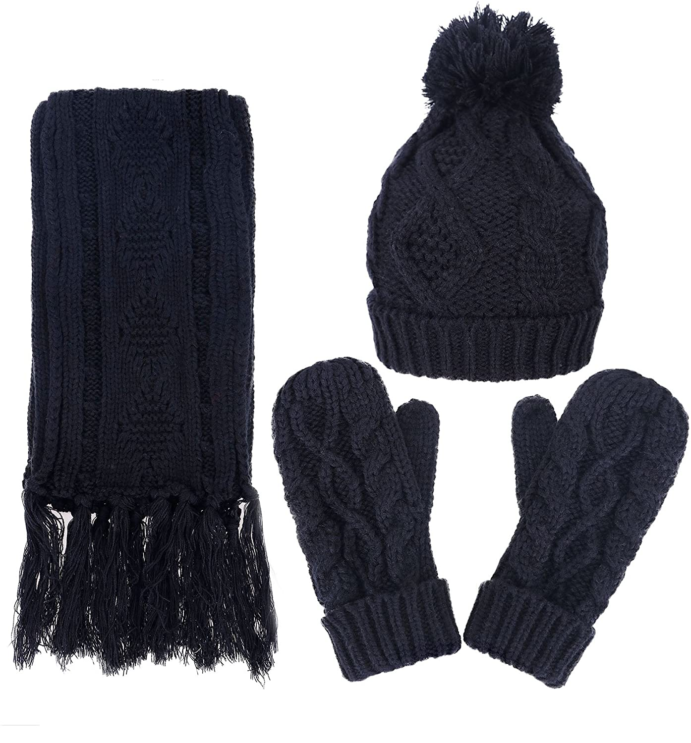 bb93db430e007 Thick chunky cable knit design. Fleece lined offers added warmth 3 Piece  Winter Set - Long folded pompom beanie
