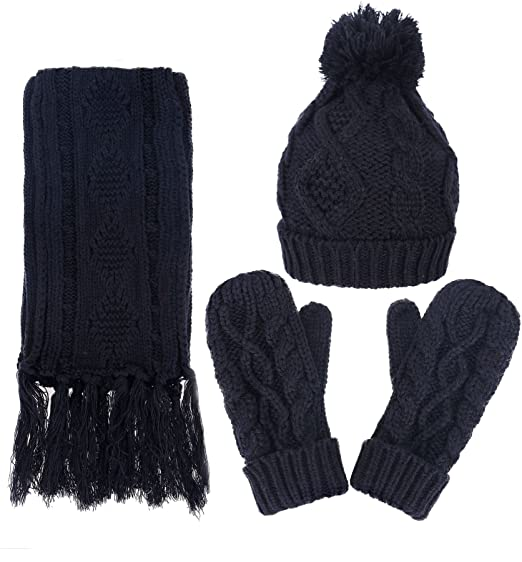 9f7c2d6a3 Women's Winter 3 Piece Cable Knit Beanie Hat Gloves & Scarf Set