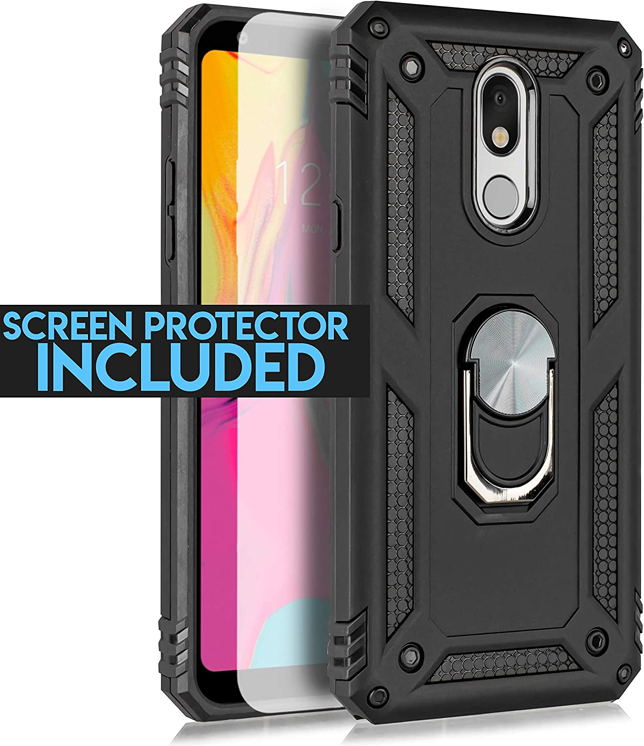 Stylo 5 Case,LG Stylo 5 Magnetic Shockproof Adsorption Hard Armor Ring Holder with Kickstand and Car Mount Phone case [Tempered Glass Screen] (Black)