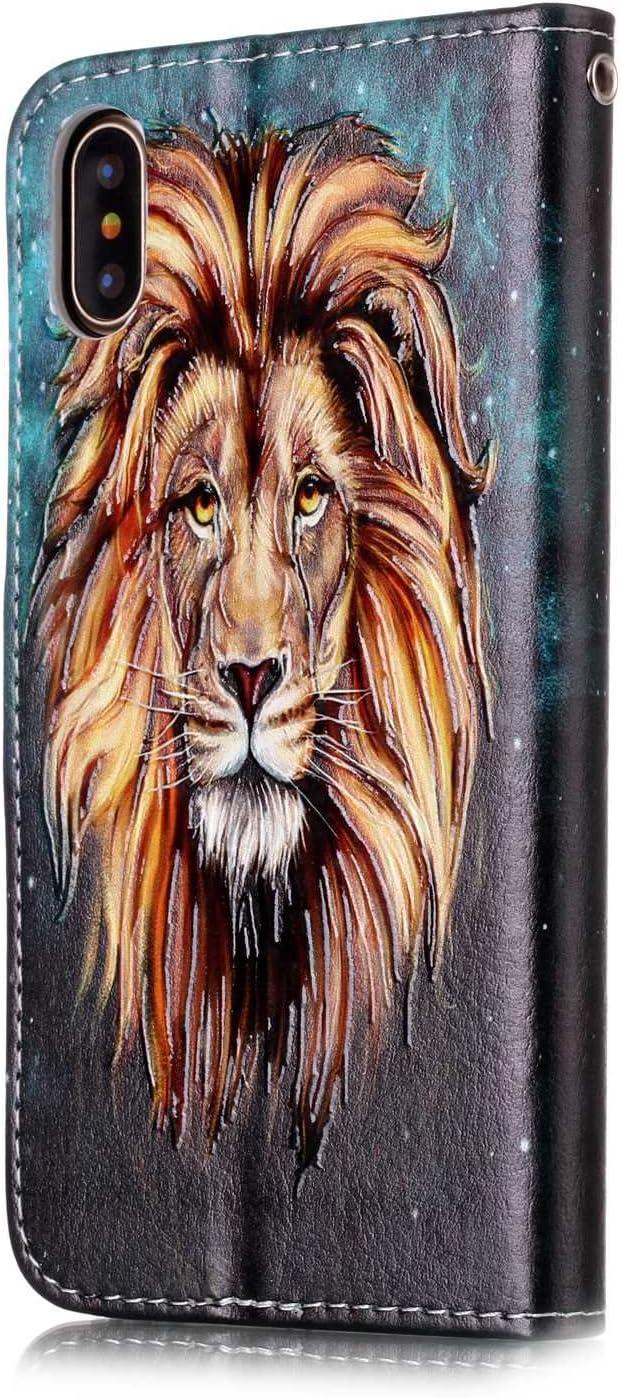 TOUCASA J3 2015//J3 2016 Case,Premium PU Leather Flip Wallet Fashionable Full body Colorful Oil painting Case for J3 2015//J3 2016-Lion