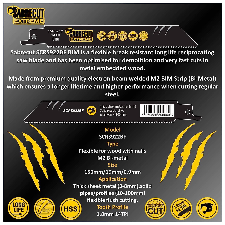 SabreCut SCRS922BF/_10 Lot de 10 lames de scie sabre 150 mm 14 TPI S922BF Coupe rapide bois et m/étal pour Bosch Dewalt Makita et beaucoup dautres
