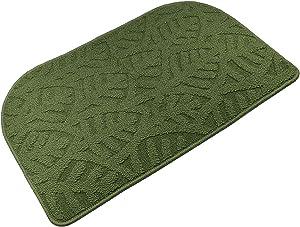 """TOONOW Indoor Doormat Front Door Mat,30""""x18"""", Low-Profile Machine Washable Kitchen Rug, Absorbent Mud Half Round Entrance Mat for Outdoors, Bathroom, Patio, Bedroom, Green"""