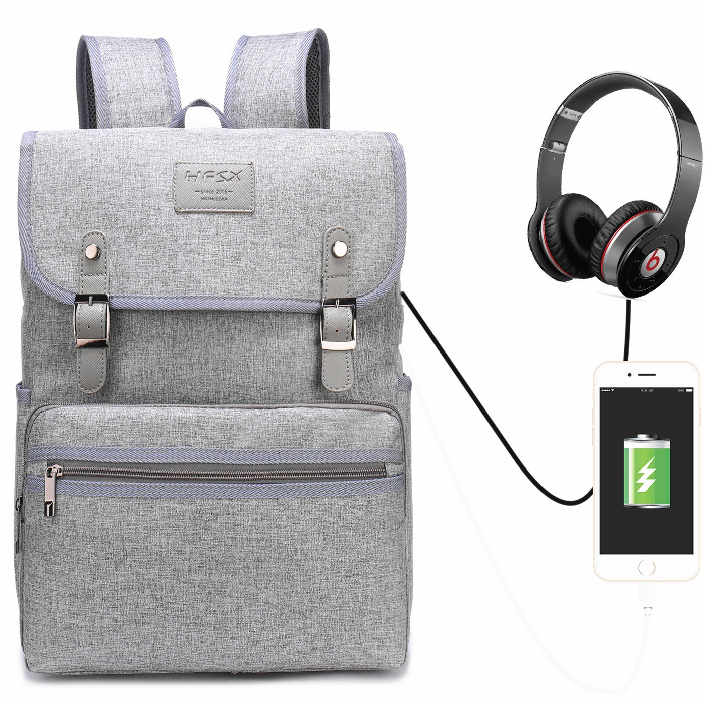 Laptop Backpack Men Women Business Travel Computer Backpack School College Bookbag Stylish Water Resistant Vintage Backpack with USB Port Fashion GREY Fits 15.6 Inch Laptop and Notebook by HFSX