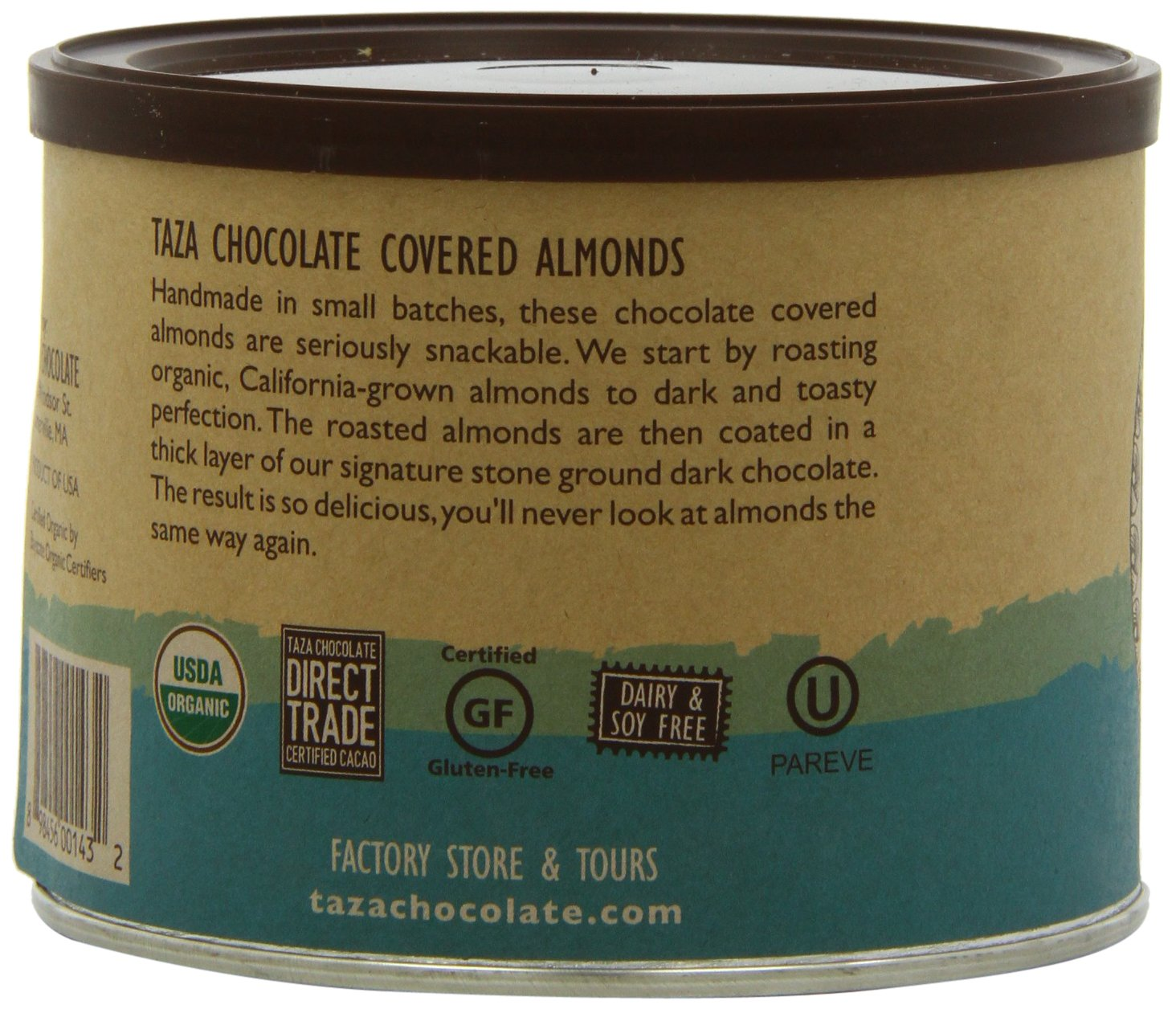 Amazon.com : Taza Chocolate Chocolate Covered Almonds, 8 Ounce ...